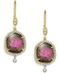 Meira T - 14k White And Yellow Gold Diamond And Watermelon Tourmaline Drop Earrings - Lyst