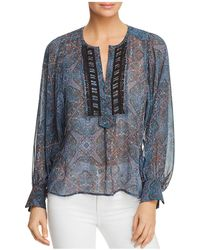 Ella Moss - Sheer Tapestry-print Top - Lyst