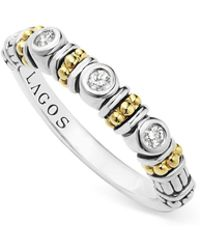 Lagos - Sterling Silver Three Diamond Stacking Ring With 18k Gold Stations - Lyst