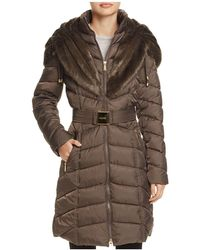 Laundry by Shelli Segal | Faux Fur Trim Belted Down Coat | Lyst
