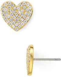 Kate Spade - Pavé Heart Stud Earrings - Lyst