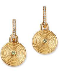 Kiki McDonough - 18k Yellow Gold Fantasy Green Amethyst & Diamond Small Drop Earrings - Lyst