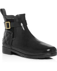 HUNTER - Refined Gloss Quilted Chelsea Rain Booties - Lyst