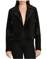 BAGATELLE.NYC - Lace-up Studded Suede Biker Jacket - Lyst