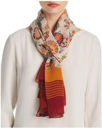 Larioseta - Paisley Floral Print Oblong Silk Scarf - Lyst