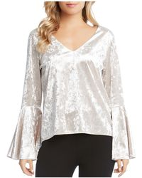 Karen Kane - Crystal Crushed Velvet Bell Sleeve Top - Lyst