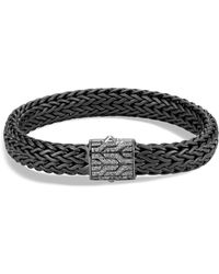 John Hardy - Men's Sterling Silver Classic Chain Large Flat Chain Bracelet With Gray Diamonds - Lyst