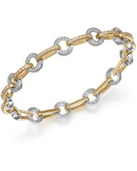 Bloomingdale's - Diamond Circle Link Bracelet In 14k Yellow And White Gold, 1.35 Ct. T.w. - Lyst