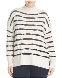 Vince Camuto Signature - Sheer-stripe Mock Neck Sweater - Lyst