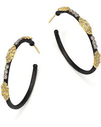 Armenta | 18k Yellow Gold And Blackened Sterling Silver Old World Large Diamond Hoop Earrings | Lyst