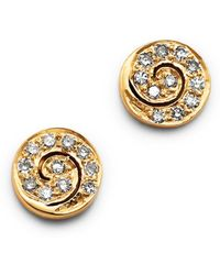 Shebee - 14k Yellow Gold Diamond Spiral Mini Stud Earrings - Lyst