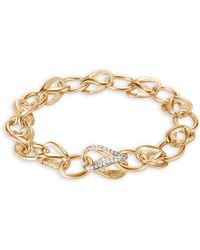 John Hardy - 18k Yellow Gold Classic Chain Pavé Diamond Link Bracelet, 10mm - Lyst