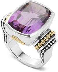 Lagos - Sterling Silver & 18k Yellow Gold Caviar Color Amethyst Ring - Lyst