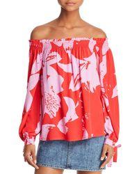 Bardot - Floral Print Off-the-shoulder Top - Lyst
