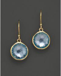 Ippolita 18k Gold Lollipop Earrings In Blue Topaz - Metallic