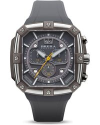 Brera Orologi | Supersportivo Square Gray Ionic-plated Stainless Steel Watch With Gray Rubber Strap, 46mm | Lyst