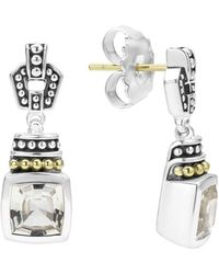 Lagos - 18k Gold And Sterling Silver Caviar Colour Drop Earrings With White Topaz - Lyst