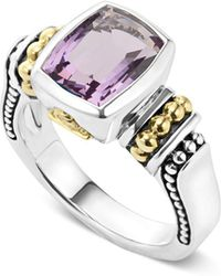 Lagos - 18k Gold And Sterling Silver Caviar Colour Small Amethyst Ring - Lyst