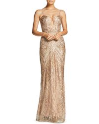 Dress the Population - Mara Plunging Embellished Gown - Lyst