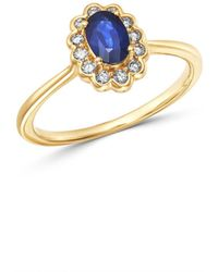Bloomingdale's - Blue Sapphire & Diamond Oval Ring In 14k Yellow Gold - Lyst