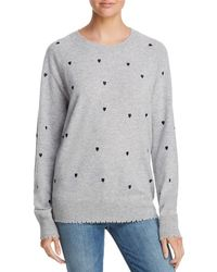 Aqua - Cashmere Heart Embroidered Cashmere Sweater - Lyst