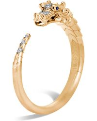 John Hardy - Brushed 18k Yellow Gold Legends Naga Pavé Diamond Small Kick Cuff With Sapphire Eyes - Lyst