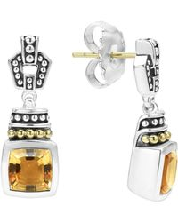 Lagos - 18k Gold And Sterling Silver Caviar Color Citrine Drop Earrings - Lyst