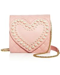 Boutique Moschino | Heart Faux-pearl Leather Shoulder Bag | Lyst