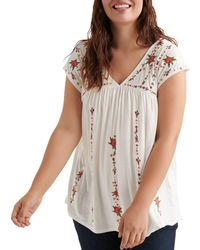 Lucky Brand - Floral Embroidered Top - Lyst