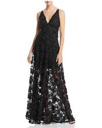 Betsy & Adam - Floral-embellished Illusion Gown - Lyst