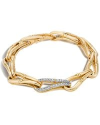 John Hardy - Bamboo 18k Gold And Diamond Link Bracelet - Lyst