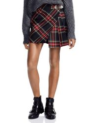 Maje - Judie Asymmetric Plaid Mini Skirt - Lyst