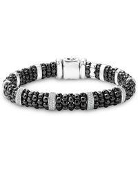 Lagos - Black Caviar Ceramic And Sterling Silver Bracelet With Pavé Diamond Bars - Lyst