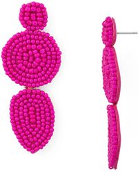 Rebecca Minkoff - Linear Beaded Disc Drop Earrings - Lyst