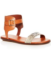 Cole Haan - Women's Barra Snake Embossed Leather Ankle Strap Sandals - Lyst