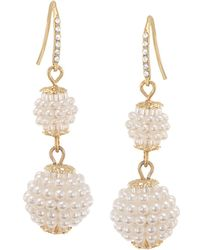 Carolee - Simulated Pearl Double Drop Earrings - Lyst