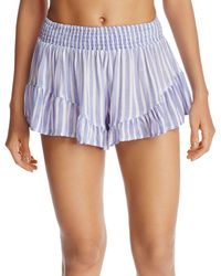 2eff70312a42e Surf Gypsy - Striped Ruffle Swim Cover-up Shorts - Lyst