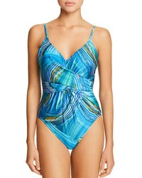 Gottex - Tourmaline V-neck One Piece Swimsuit - Lyst