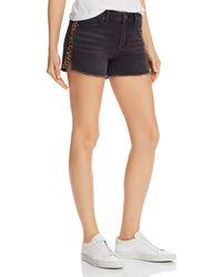 Aqua - Leopard Track Stripe Denim Shorts In Black - Lyst