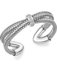 Roberto Coin - 18k White Gold Primavera Diamond Cuff Bracelet - Lyst