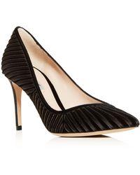 Giorgio Armani - Women's Decolette Velvet & Satin Stripe Pointed Toe Pumps - Lyst
