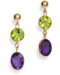 Bloomingdale's - Peridot & Amethyst Drop Earrings In 14k Yellow Gold - Lyst