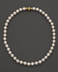 """Bloomingdale's - 14k Yellow Gold Cultured Akoya Pearl Necklace, 17"""" - Lyst"""