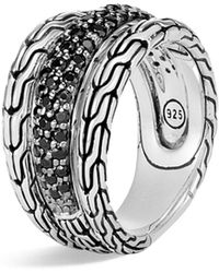 John Hardy - Classic Chain Sterling Silver, Black Sapphire & Black Spinel Ring - Lyst