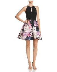 Aqua - Floral Fit-and-flare Dress - Lyst