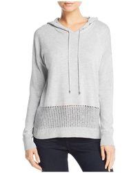 Aqua - Open-knit Detail Hooded Jumper - Lyst