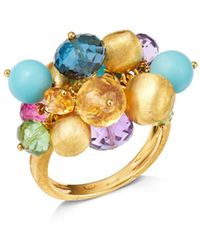 Marco Bicego - 18k Yellow Gold Gemstone Cluster Cocktail Ring - Lyst