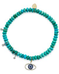 Meira T | 14k White And Yellow Gold Turquoise Beaded Bracelet With Sapphire And Diamond Evil Eye Charm | Lyst