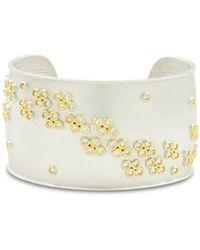 Freida Rothman - Fleur Bloom Wide Cuff Bracelet In 14k Gold - Plated & Rhodium - Plated Sterling Silver - Lyst