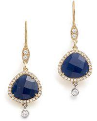 Meira T - 14k White & Yellow Gold Sapphire & Diamond Charm Earrings - Lyst